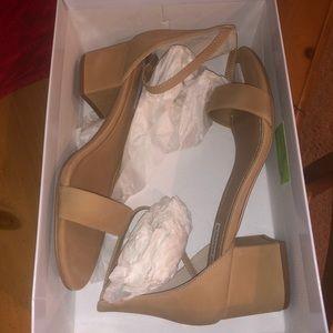 Steve Madden Irene Tan Nubuck Heel Sandals